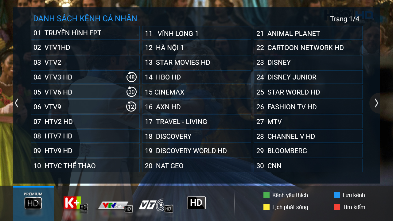 danh sách kênh truyền hình fpt
