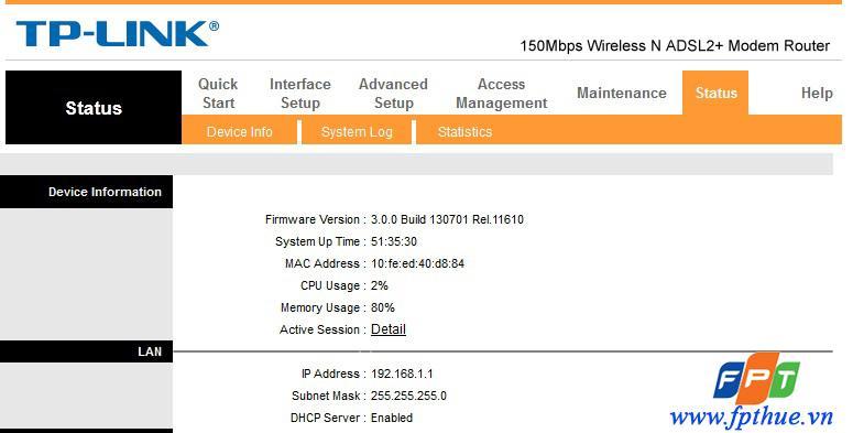 Hướng dẫn đổi mật khẩu Wifi ADSL FPT