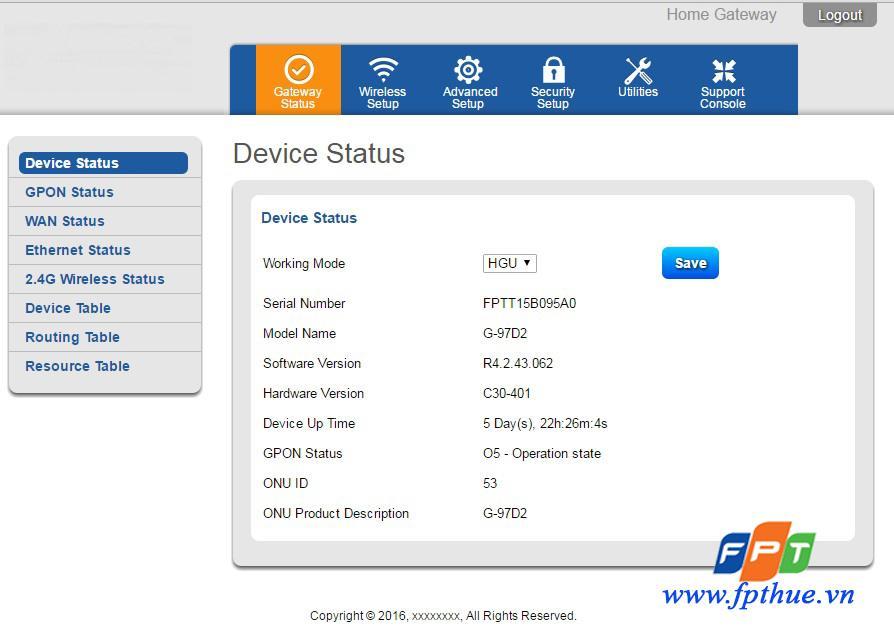 Modem wifi G97D2 FPT